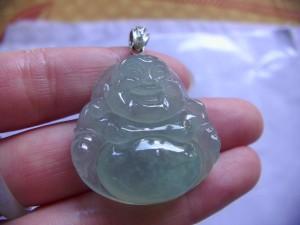 高級氷翡翠カービング Blue Happy Buddha