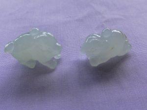 氷翡翠カービング 豚と象