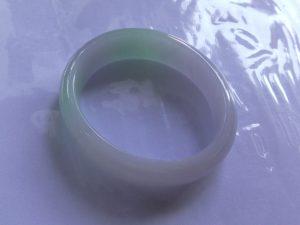 卵型翡翠バングル ダブルライン
